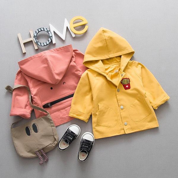 Chaqueta primavera ropa joven algodón de los niños de los niños Nueva Camisa con capucha de estilo coreano Escudo en nombre chaqueta del foso del bebé de la historieta