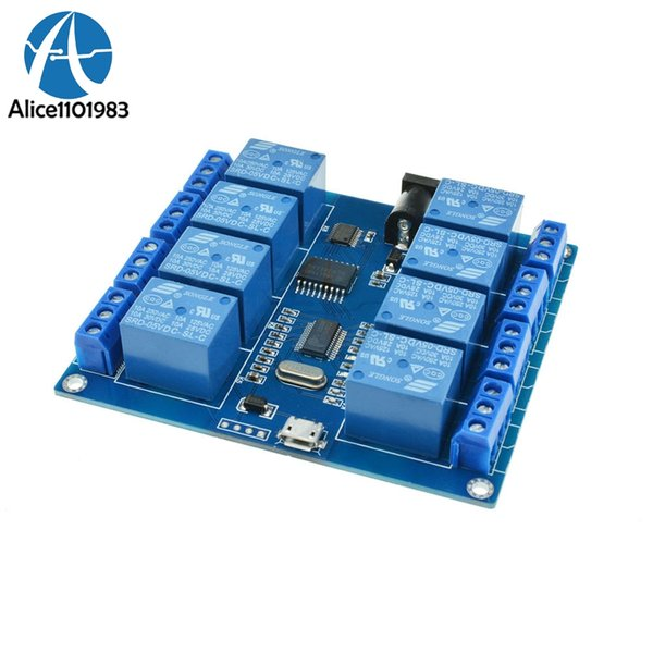 New 5V 10A Micro USB 8 CH 8 Channel Relay Upper Computer ICSE014A 8-Channel Relay Serial Port Board Module Way