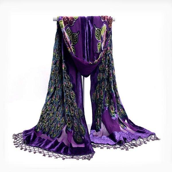 Sciarpa di seta scialle di velluto di alta qualità delle donne cinesi viola di alta qualità in rilievo a mano ricamo scialle di pavone sciarpa sciarpe dell'involucro