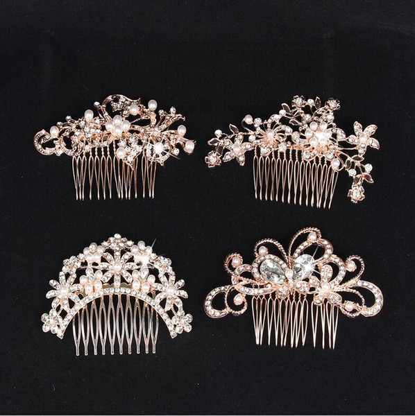 best selling luxury pearls Bridal Wedding Tiaras Stunning Fine Comb Bridal Jewelry Accessories Crystal Pearl Hair Brush utterfly hairpin for bride