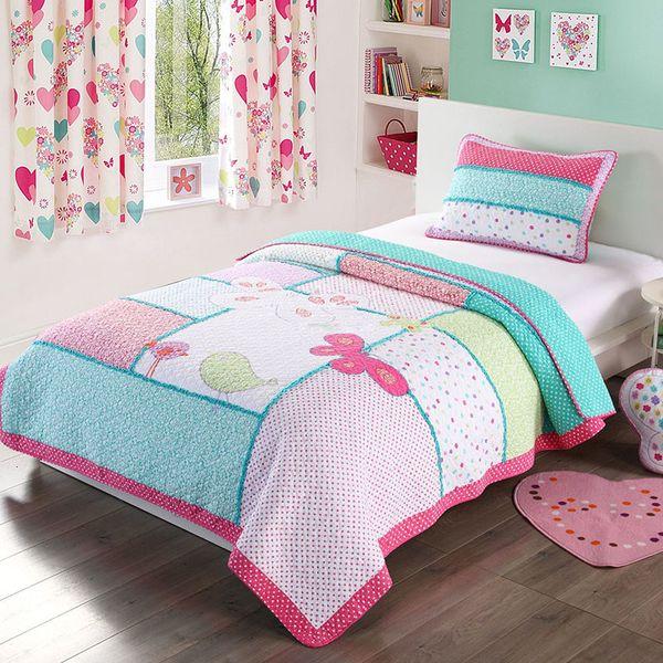Kinder Quilt Set 2 Stück Vogel gestickter Bedspread Bettdecken Applikationen Cotton Quilts Princess Coverlet Twin-Size-Mädchen Bettwäsche SH190917