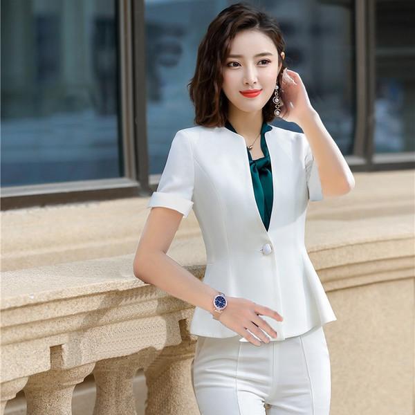Été Formel Femme Blanc Blazer Femmes Vestes À Manches Courtes Bureau Dames Travail Porter Des Vêtements OL Styles