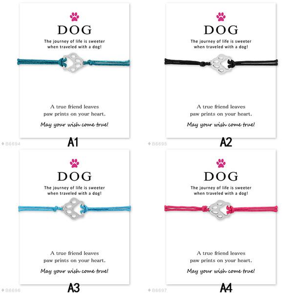 Aşkım Köpek pençe Hayvan charm infinity bir dilek bilezikler ile Yapmak Kart tasarımcı ile Halat Wrap Bileklik kadın erkek Oğlan Kız Takı Hediye