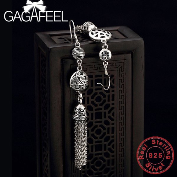 gagafeel 925 sterling silver hollow peony flowers drop earrings for women thai silver tassel party jewelry high quality