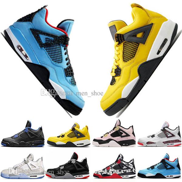 Date Bred 4 4s Ce Que Le Cactus Jack Laser Wings Hommes Chaussures De Basket-ball Denim Bleu Citron Hommes Sport Designer Baskets En Plein Air US 5.5-13