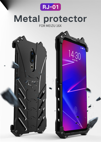 R-JUST Metal Aluminum Case for mei zu 16X Shockproof Cover case Armor anti-knock phone cases with Kickstand