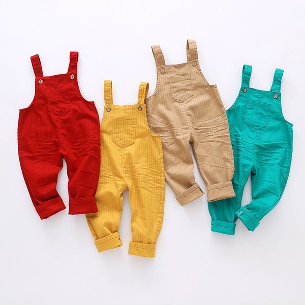 9m-4t Kids Clothing Cotton Baby Long Pants Overalls Girls Boys Jeans Jumpsuit Children Rompers Toddler Clothes High Quality Y19050602