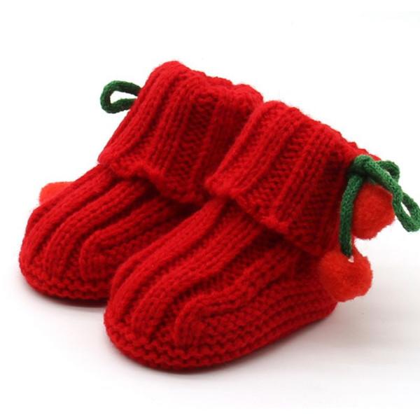 Infant delle ragazze del bambino caldi di inverno Scarpe Crochet Knit pile Booties Bow neve girello Culla Stivali 0-6months 0-12months