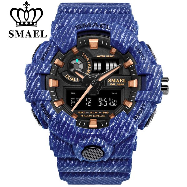 s Watches Quartz Wristwatches SMAEL Brand Luxury Cowboy Sport Watch New Men Military Watches Analog Army Digital Writwatch 8001 Waterproo...