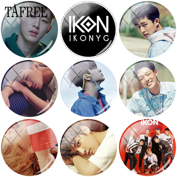 Hot Selling 1pcs Kpop IKON Glass Cabochon Photo 25mm Charm Tray Setting DIY Necklace Keychain Jewelry Accessories