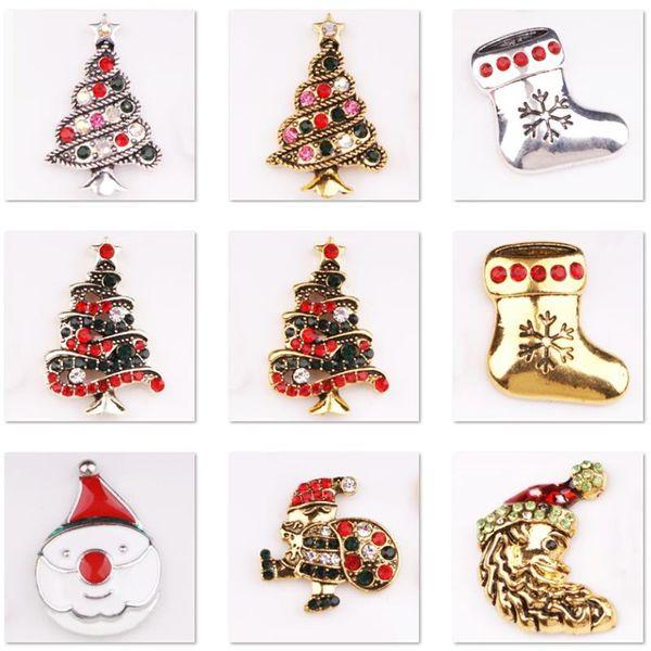 Braccialetti di fascino economici XH9468 Albero di Natale ELK Babbo Natale Pupazzo di neve in cristallo 18mm Bottone a pressione in metallo