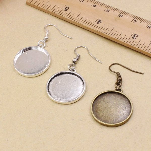 Fit 20mm Metal Round Blank Setting Bezel Blank Cabochon Earring Base For DIY Earring Making Gift 10 Pcs/lot K05252