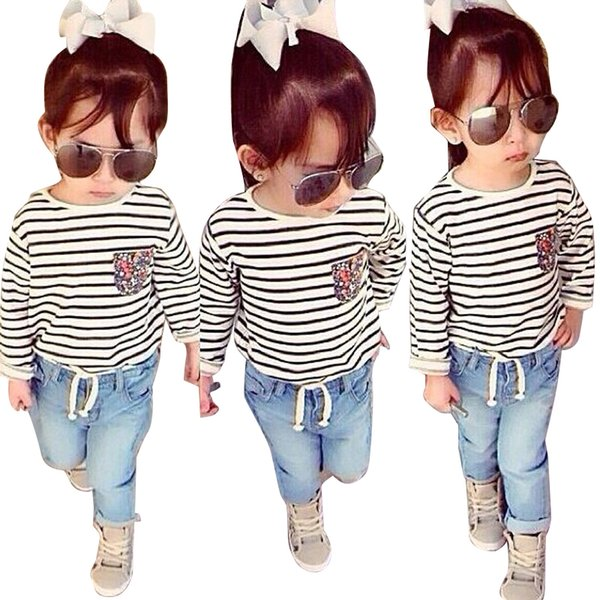 Spring Summer Girls Clothing Set Striped Long-sleeved Shirt + Jeans 2pcs Children Clothes set 1-7 Years Kids Baby Girls Suit