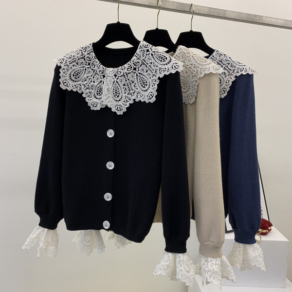 Women autumn Lace patchwrok sweater knitted Cardigan jumpers pull femme