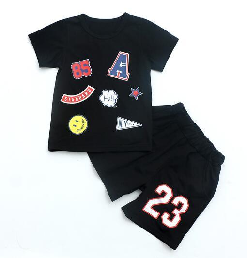 2019 HOT SELL New Style Children's Clothing For kids Boys And Girls Sports Suit Baby Infant Short Sleeve Clothes Kids Set 2t-9t ORES