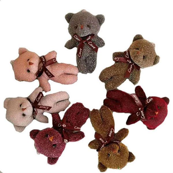 Moda 12 CM Teddy Bear Plush Doll Toy Portachiavi Donna Borsa Charms Faux Rabbit Fur Pom Pom Portachiavi Portachiavi Matrimonio Gingillo