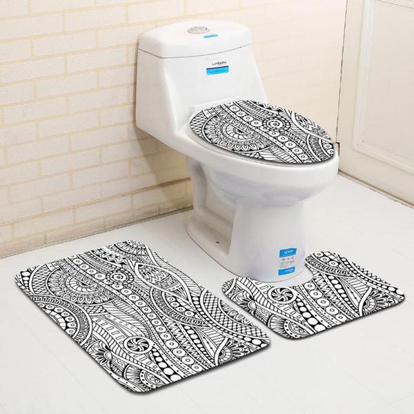 Awe Inspiring 2019 Black And White Pattern Bathroom Rug Bath Rug Contour Mat Lid Cover Toilet Decoration Mats Set From Websterwarehouse 16 59 Dhgate Com Machost Co Dining Chair Design Ideas Machostcouk