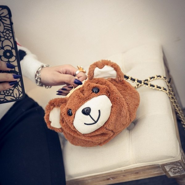 New Designer Cute Mini Brown Bear Head Shoulder Bags Girls Plush Bag Clutch Purses Wallet Lovely Animal Handbag