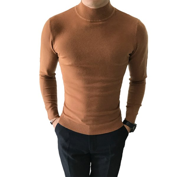 autumn winter candy color men's sweater solid slim half turtleneck knitwear thin wool cashmere knit  pullovers good quality