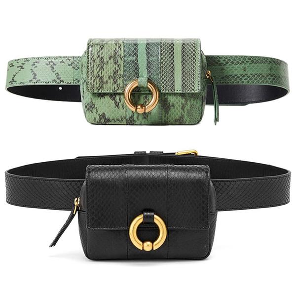 BEAU-Vogue Design Waist Bags Fanny Pack For Women High-End Leather Serpentine Lady Belt Bags Phone Bag Handy Bum Bag