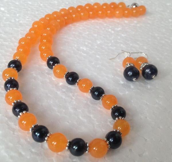 jewelry free 07866 Natural Black Akoya Cultured Pearl/Orange Jade necklace earrings set (A0423)