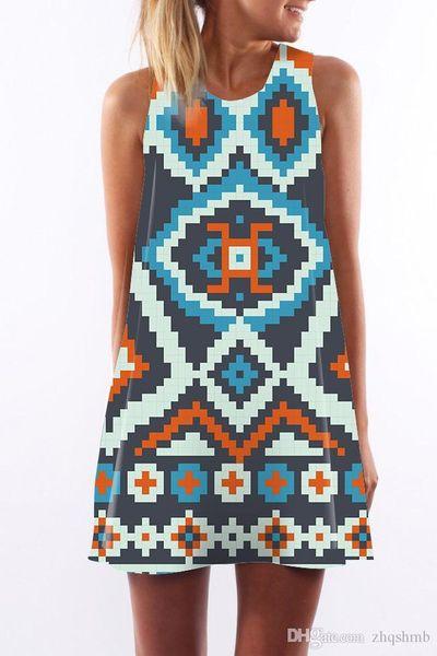 Women dress crew neck summer Sling sleeveless Hip Wrap Elegant Lady Ethnic flower lattice digital print skirt Casual pencil Dresses S-XL