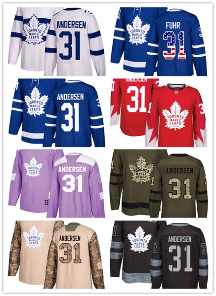 Toronto Maple Leafs jerseys #31 Frederik Andersen jersey ice hockey men women Blue white red Authentic winter classic Stiched gears Jersey