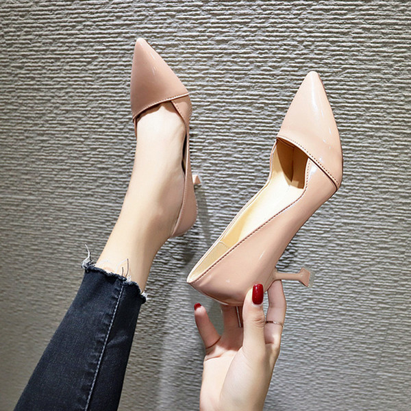 Dress Shoes High-heeled Blue Shiny Women's Shallow Mouth Wedding Party Pointed High-heeled Comfortable Thin High Heel Shoe