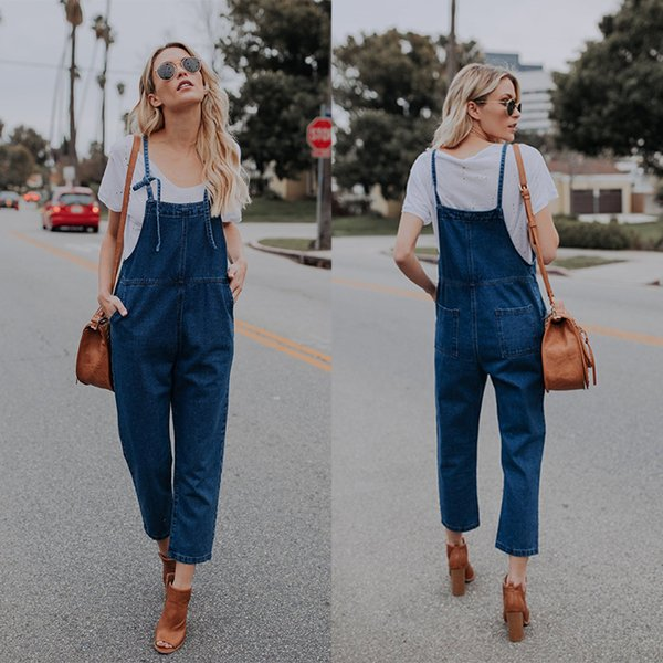 Women 2019 New Boyfriend Rompers Jeans Femme Navy Blue Street Style Denim Jumpsuits Loose Fit One-piece Pants for Ladies