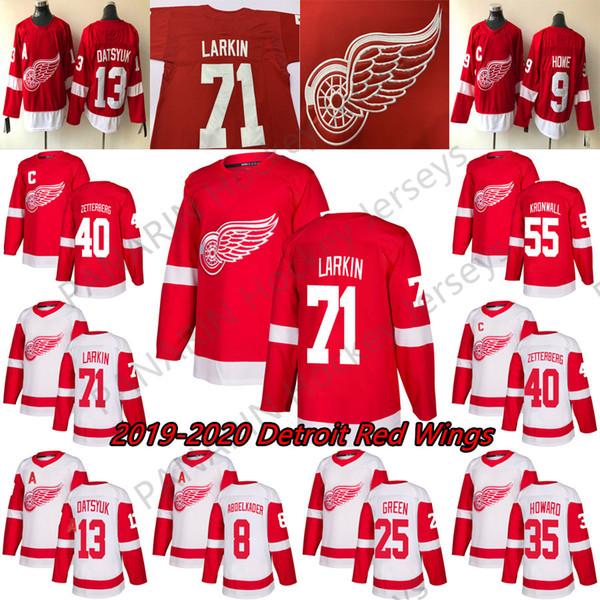 2019 Detroit Red Wings Jerseys Hockey 13 Pavel Datsyuk 8 Justin Abdelkader 19 Steve Yzerman 71 Larkin 9 Howe 21 Tatar hockey custom jerseys