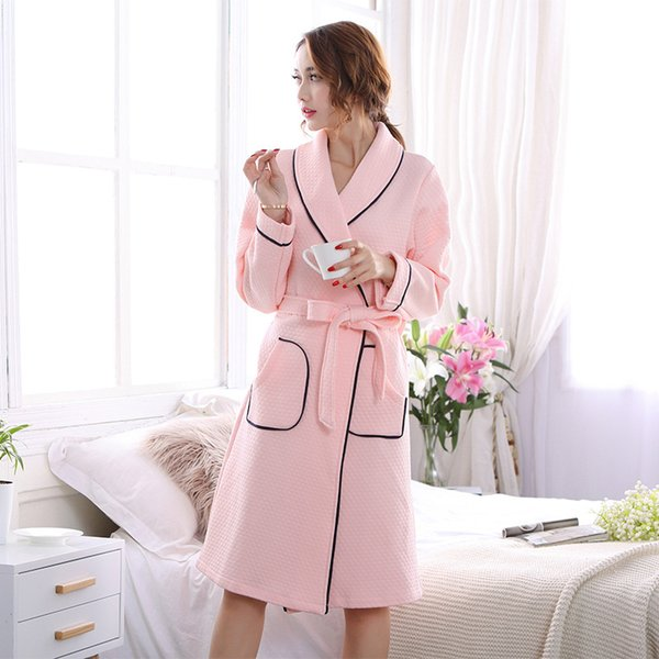 Female Plus Large Size Cotton Bathrobe Spring Autumn Cute Pink Warm Robes For Women Flower Embroidery Home Dressing Gown