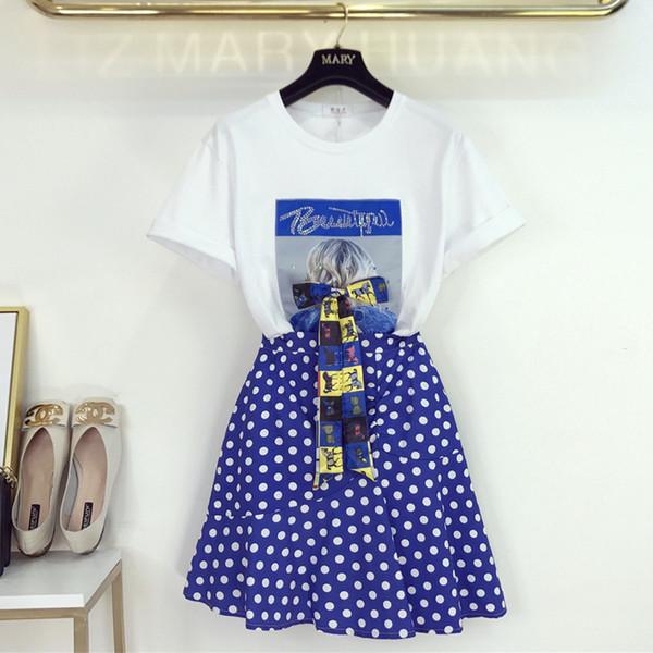 Mulheres Moda Lantejoulas Caráter Impresso Bow T-Shirt + Dot Saias Set 2019 Verão Tee Tops Mini Saia 2 Peça Roupas Ternos