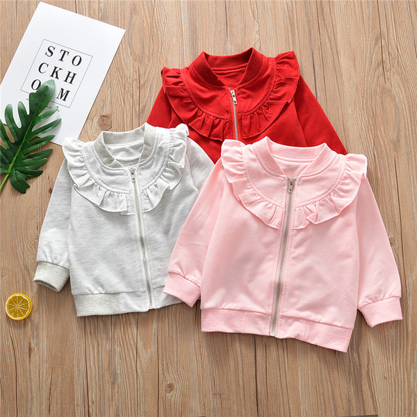Baby Clothes Kids Clothing 2019 Newstyle Autumn Baby Girls Sweaters T Shirt  Long Sleeve Lotus Leaf Collar Zipper Tops Kids Children Coat Toddler Girl