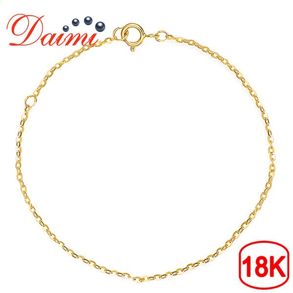 Daimi Pulsera de oro puro Cadena 18k Oro amarillo Cadena ajustable 16cm-18cm Pulsera Cadena Regalo de la joyería J190614