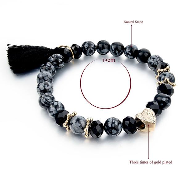 beau acheter réel 100% authentifié 2019 Ashion Jewelry Bracelets CHICVIE Vintage Black Nature Stones Bracelet  For Women Girls Tassel Charm Bracelets &Amp; Bangles Gold Color Bea... From  ...
