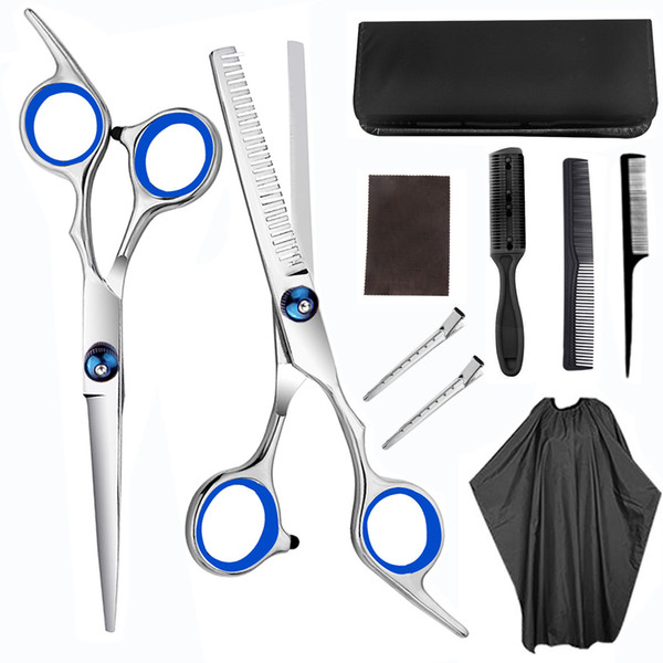 best selling Hair Scissor Set 6 Inch Barber Hairdressing Cutting Professional Shear Stainless Steel Thinning Scissor Salon Set J1100