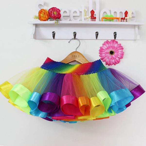 UNIKIDS Радуга Тута Тюль юбка лето малыши девушка принцесса юбка Baby Ballet Dancewear Puffy Pettiskirt