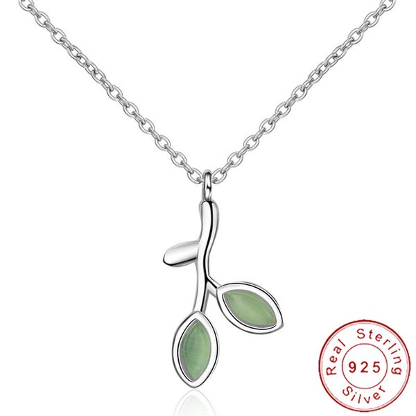 simple real pure 925 sterling silver leaf necklace green opal stone tree branch pendant buds neckless women clavicle chain sn030