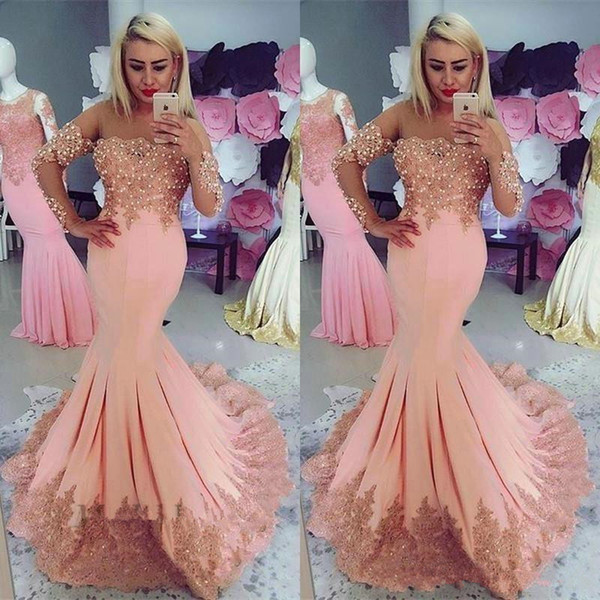 2019 New Peach Pink Mermaid Evening Dresses with Capped Long Sleeves Lace Appliques Beading See Through Neckline Ruched Formal Evening Gowns