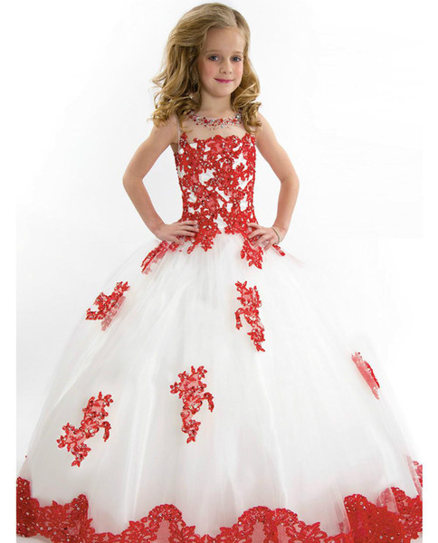 Süße weiße und rote Mädchen Festzug Kleid Prinzessin Ballkleid Tüll Party Cupcake hübsche kleine Kinder Königin Blumenmädchen Kleid