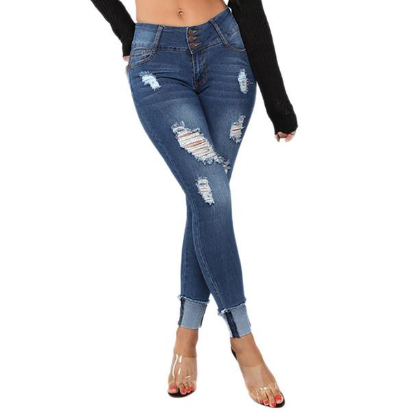 Ropa nueva 2019 Mujeres Elástico Tallas grandes Denim Pocket Button Botines de corte de bota casuales Jeans Envío de la gota