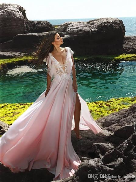 Plage Rose Une Ligne En Mousseline De Soie Sexy Robes De Mariée Pas Cher Split Avant Pour Les Filles 2019 Nouveau Mariage Robes De Mariée Dubaï Vente