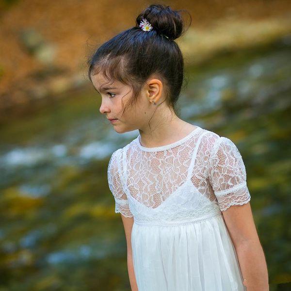 New bohemian a line flor vestidos de meninas para capina vestidos de jóias pescoço de manga curta até o chão botão de volta para as crianças do bebê meninas vestido de comunhão