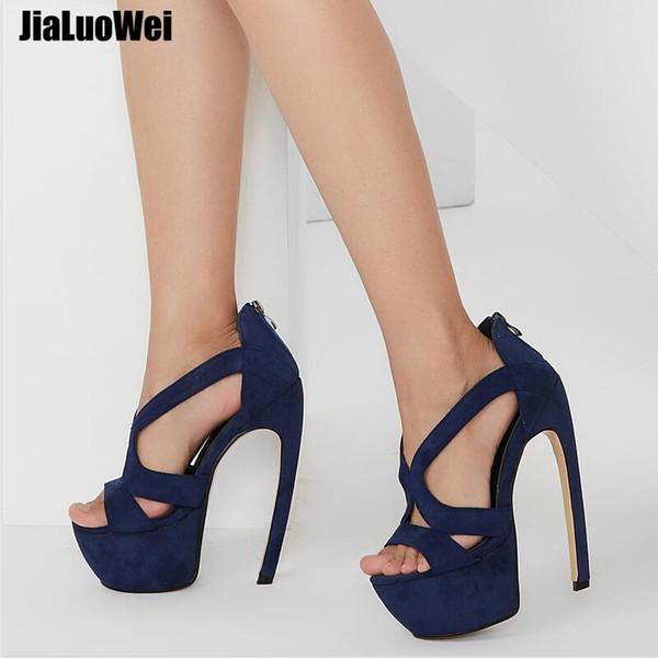 "18cm Women Gladiator Sandals 7"" High Heeled Strange Style Bend Curve Heels Sexy Open Toe Summer Shoes Platform Size 36-46"