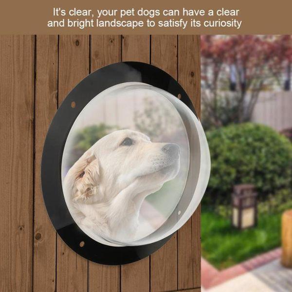 Durable Acrílico Vista para mascotas Ventana Inserto de cúpula Cerca Valla Exterior Paisaje Visor para gatos Perros perro mascota puerta de perro puerta