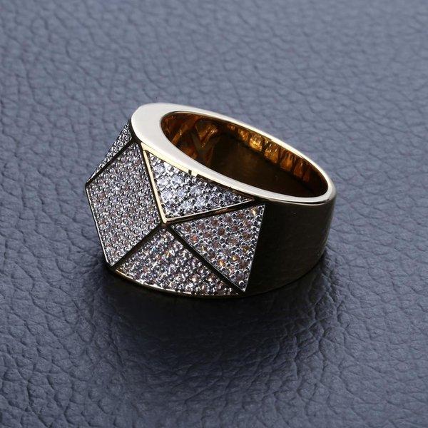 Nouvelle mode 18K or glacé zircon cubique polygone facetté amants anneau bande diamant plein Hip Hop bijoux cadeaux pour hommes et femmes en gros