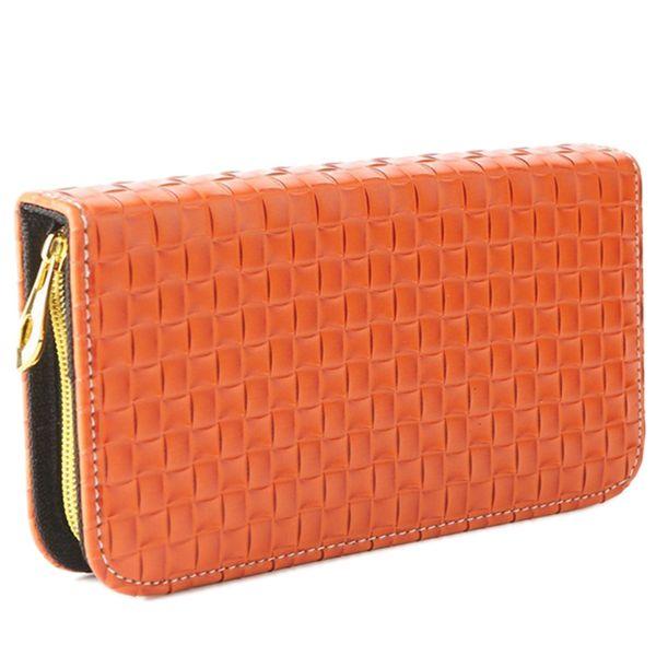 1pc pu leather zipper tartan design pattern hair scissors bag salon barber orange hand carry portable hairdressing tools