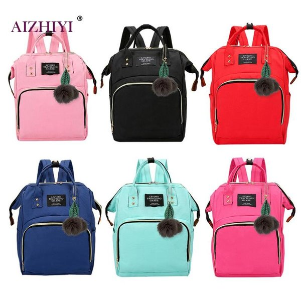 Сплошной цвет Мамочка Пеленки сумка большая емкость младенца подгузник сумка конструктора Кормящие дамы моды путешествия рюкзак младенца Уход