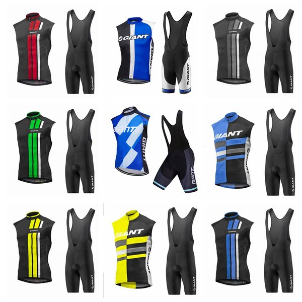 GIANT team Cycling Sleeveless jersey Vest bib shorts sets Men's summer comfortable full zipper outdoor sports suit Q62110