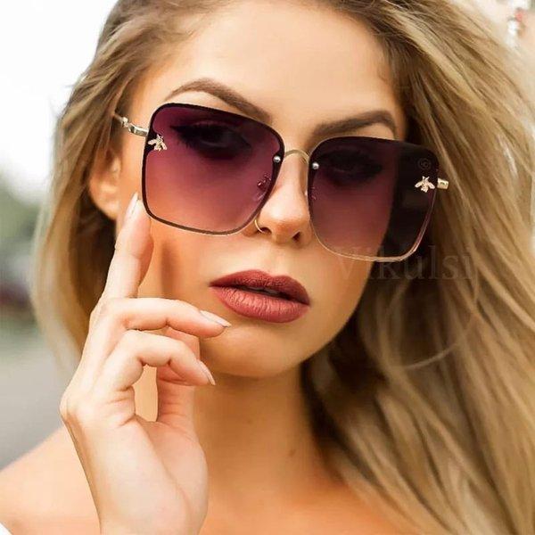 top popular Fashion womens sunglasses Lady Oversize Rimless Square Sunglasses Women Men Small Glasses Gradient Sun Glasses Female UV400 2021